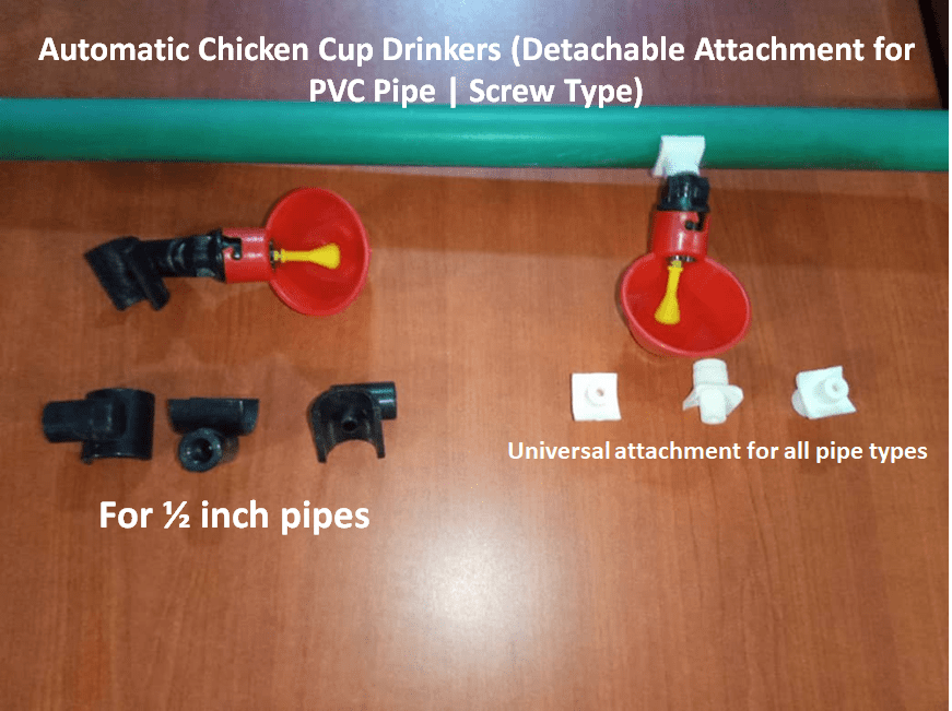 Automatic Chicken Cup Drinkers (Detachable Attachment for PVC Pipe | Screw Type)